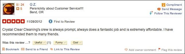 Yelp window cleaning review for Crystal Clear Cleaning